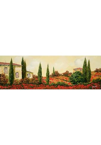 Home affaire Kunstdruck »G. BORELLI / Drei Häuser mit Mohnblumen«, (1 St.) kaufen