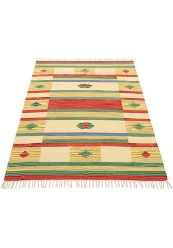 carpetfine Teppich »Kelim Mirza«, rechteckig, 5 mm Höhe, Flachgewebe, Wendeteppich, reine Baumwolle, mit Fransen, Wohnzimmer kaufen