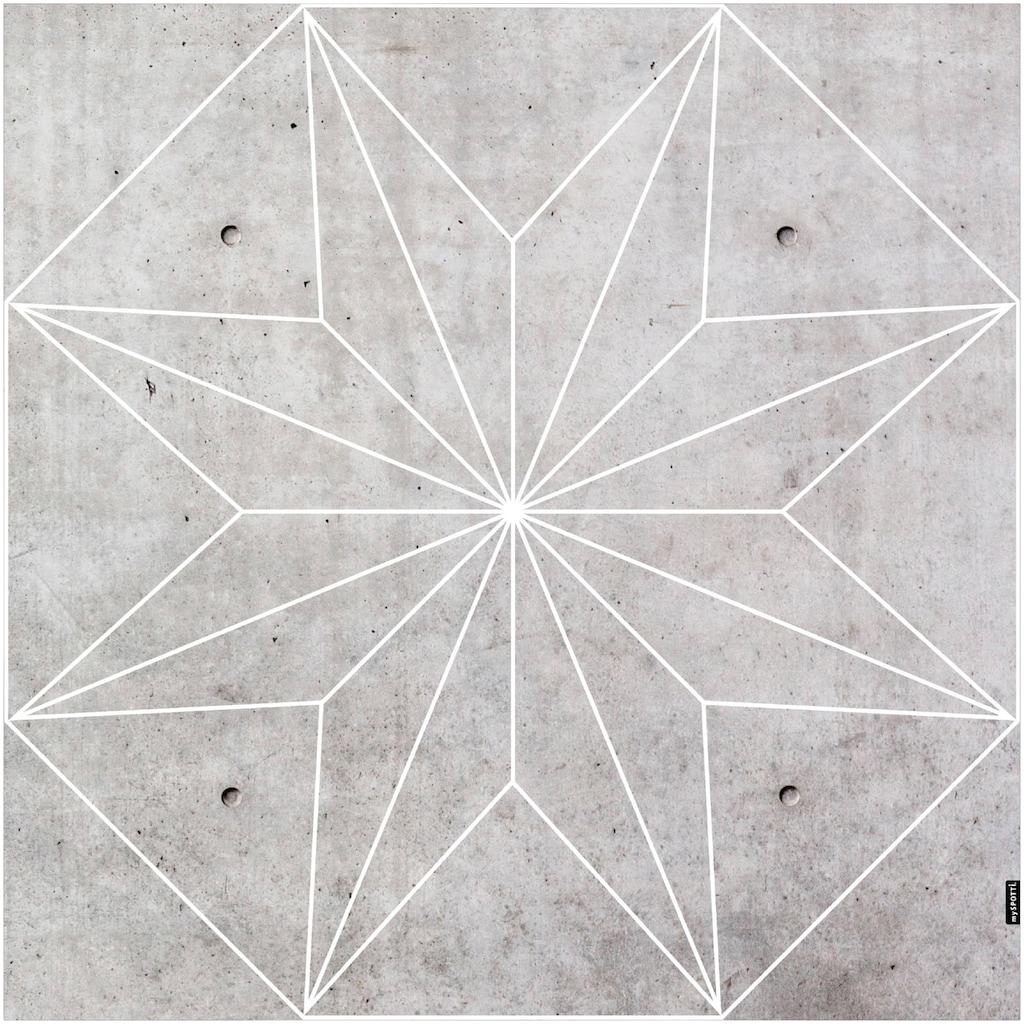 MySpotti Vinylteppich »Buddy Concrete Star«, quadratisch, 0,03 mm Höhe, eckig, wasserfest und statisch haftend