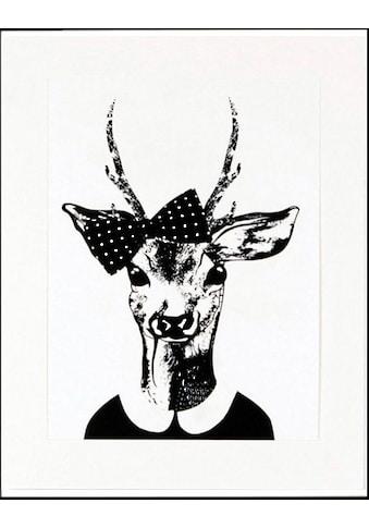 G&C Kunstdruck »Reh-Frau in Spaziergang-Kleidung«, 33/43 cm, gerahmt kaufen