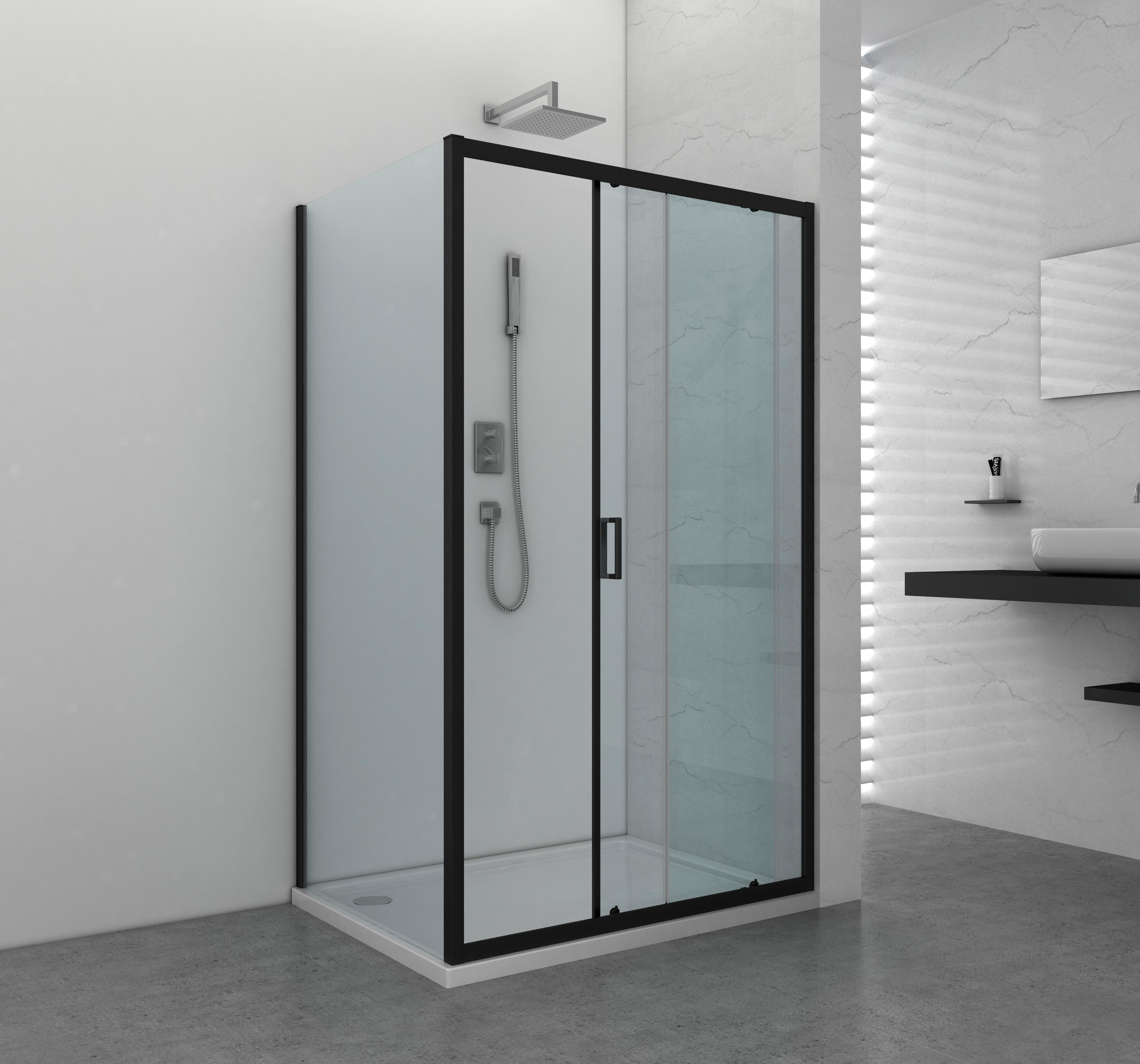 Schiebetür »ELITE«, für Duschen  mit Alu-Profilen in schwarz matt   Bad > Duschen > Duschen   Sanotechnik