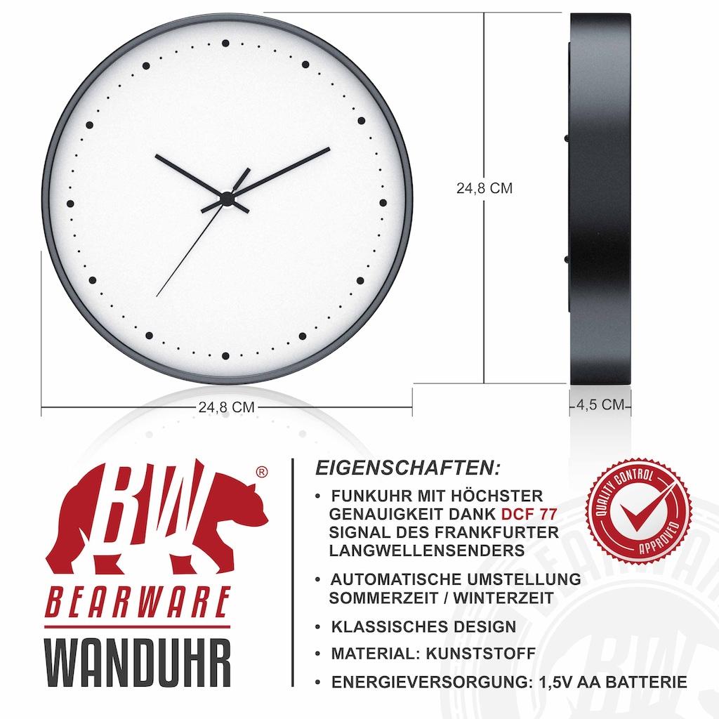 BEARWARE Wanduhr »Analoge Anzeige - DCF-Signal - Batteriebetrieb«, rund mit 24 cm Durchmesser