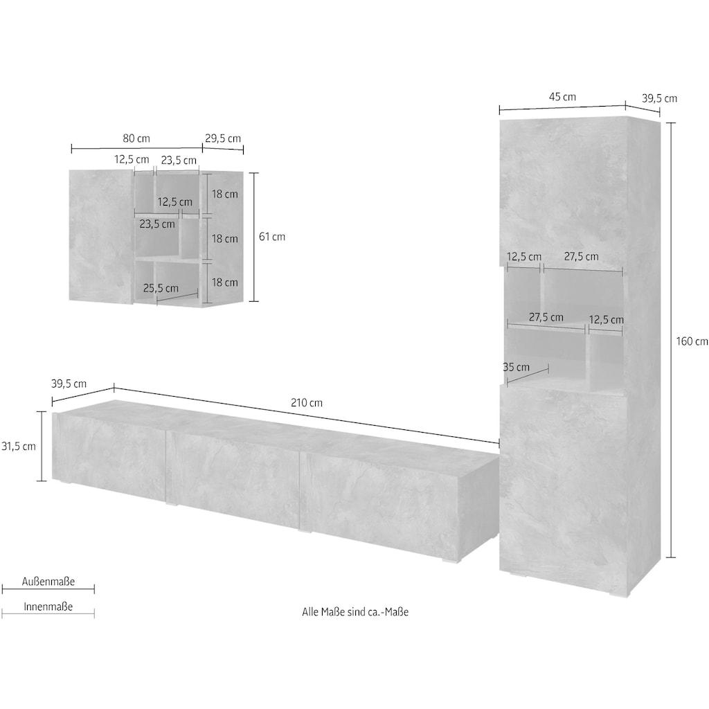 TRENDMANUFAKTUR Wohnwand »Aksel«, (Set, 3 St.)