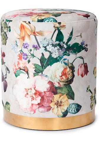 Essenza Sitzhocker »Pouf Fleur«, rund, aus weichem Samtvelours, mit goldfarbenem Sockel aus Metall kaufen