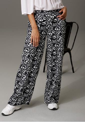 Aniston CASUAL Schlupfhose, mit kontrastfarbenen Blumendruck kaufen