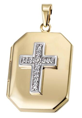 Firetti Medallionanhänger »Kreuz, Glaube, bicolor«, mit Diamant kaufen