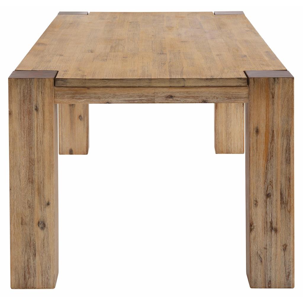 Home affaire Esstisch »Maggie«, aus massivem Akazienholz, in drei verschiedene Tischbreiten und zwei unterschiedlichen Beinstärken