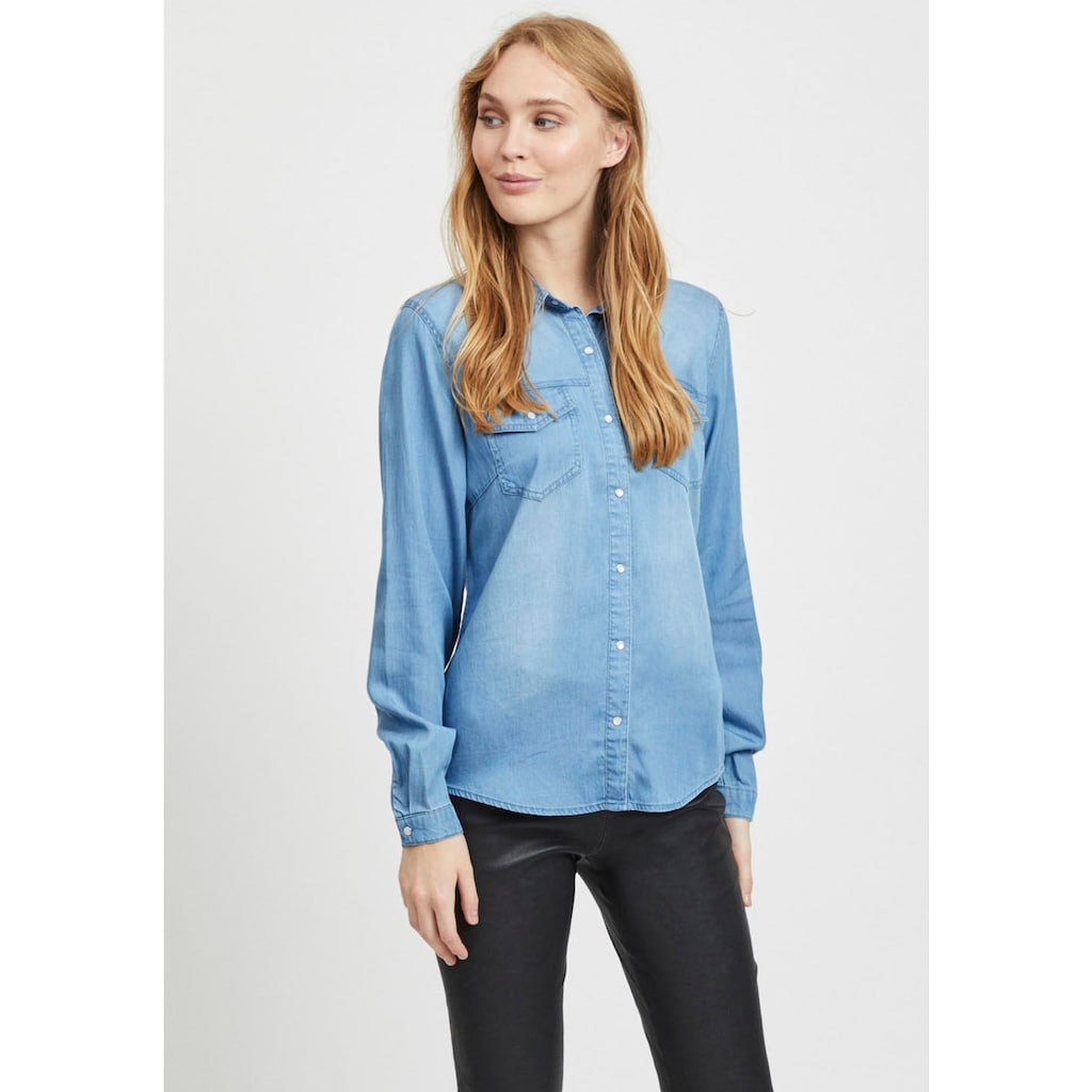 Vila Jeansbluse »VIBISTA«, in leichter Used-Waschung