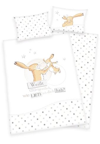 Babybettwäsche »Weißt du eigentlich wie lieb ich dich hab?«, mit Punkten und Hasen kaufen
