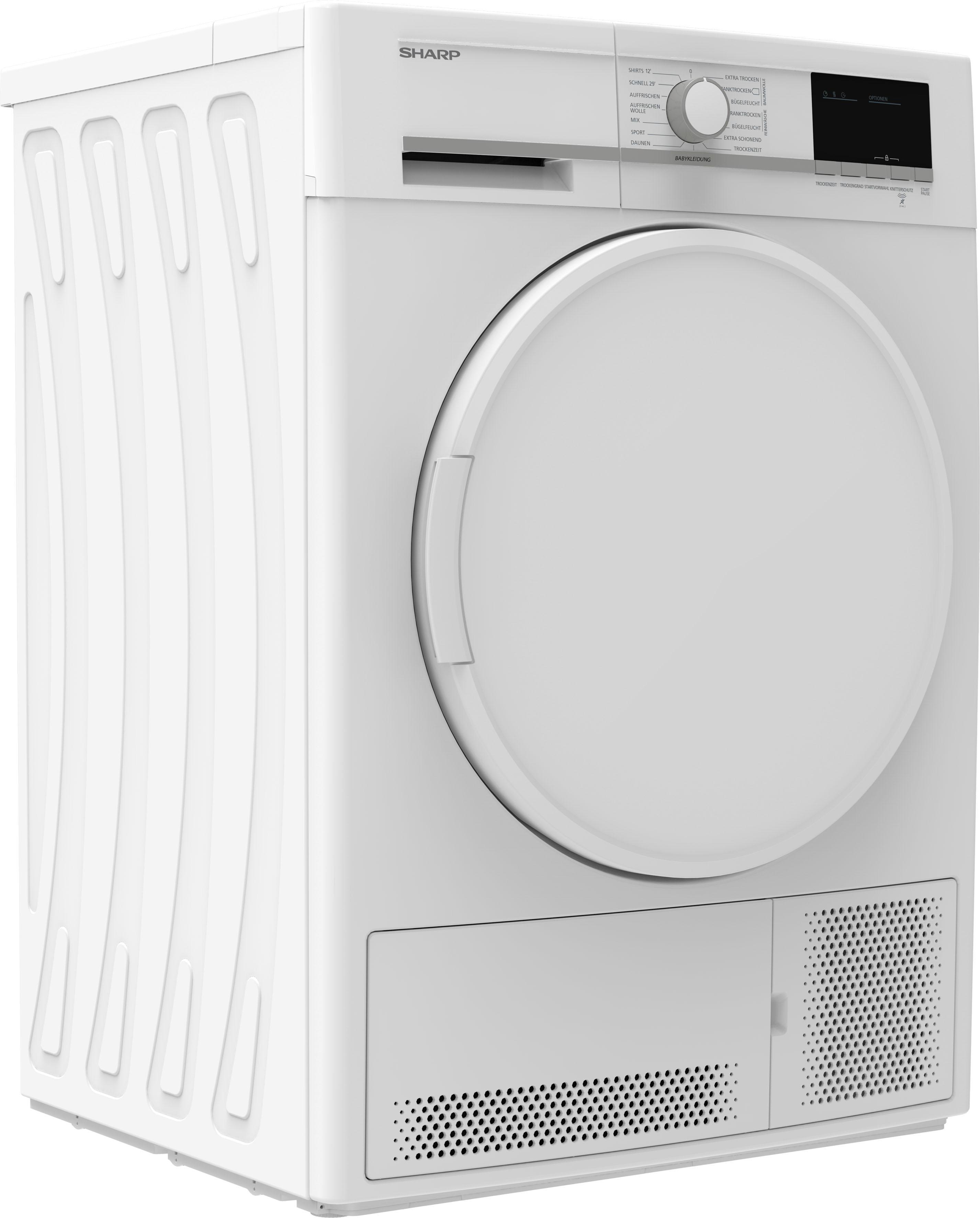 Sharp Kondenstrockner KD-GCB8S7PW9-DE, 8 kg | Bad > Waschmaschinen und Trockner > Kondenstrockner | Sharp