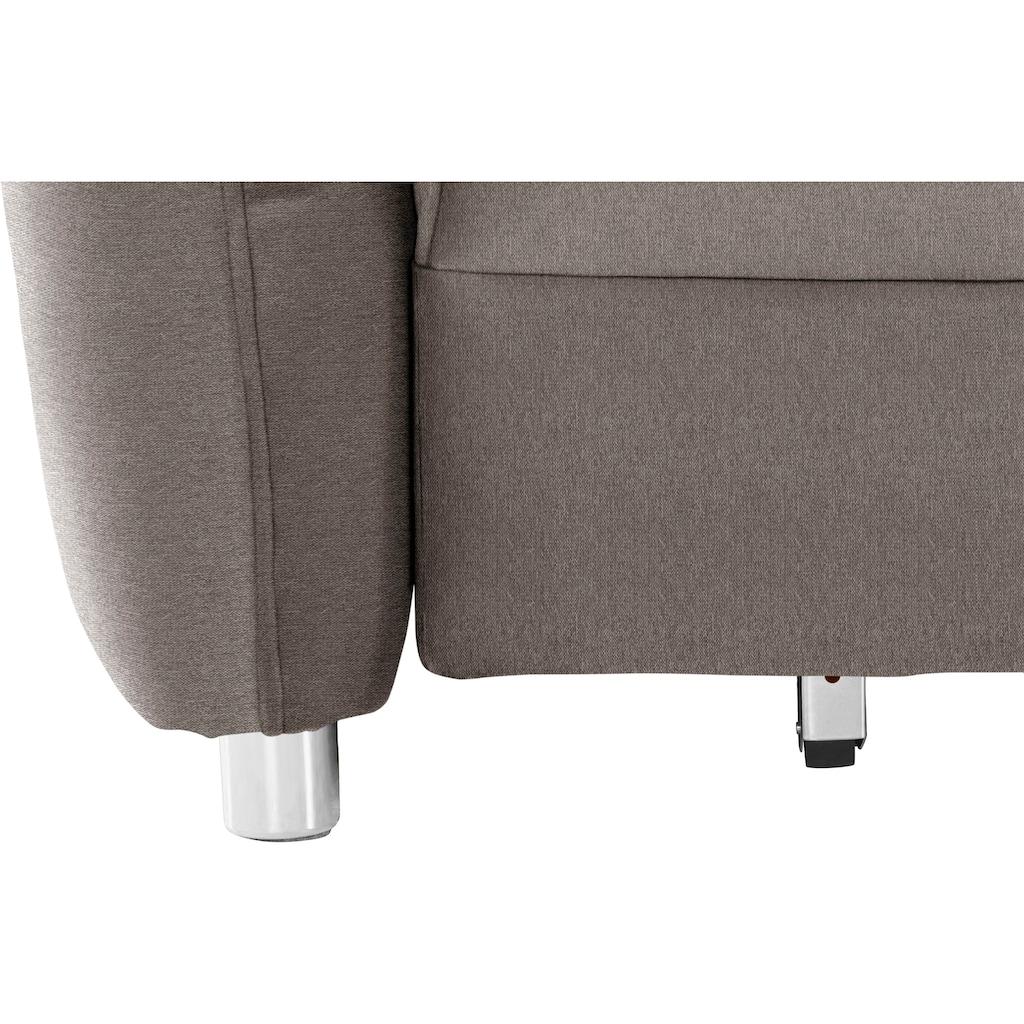 Nova Via Schlafsofa »Dijon«, Easy-Bettfunktion und Bettkasten, wahlweise mit Kaltschaum (140kg Belastung/Sitz) oder Boxspringfederung, frei im Raum stellbar, inklusive Komfortschaum-Topper mit Transporttasche