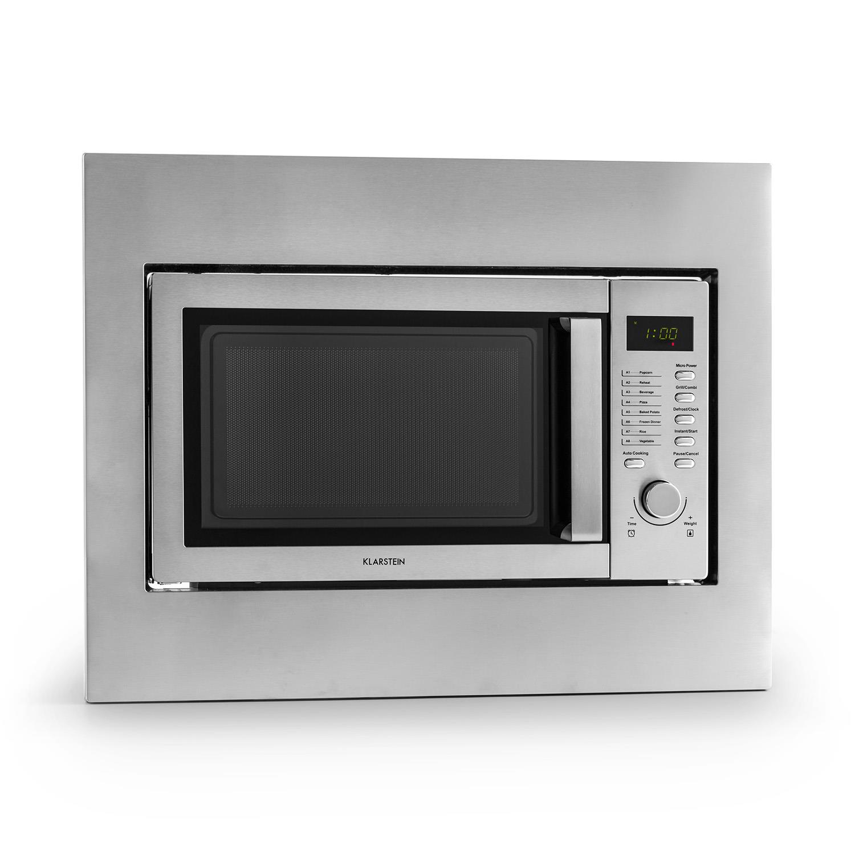 *Klarstein Mikrowelle 23 liter Einbaugerät Grillfunktion Edelstahl Groß »Steelwave«*