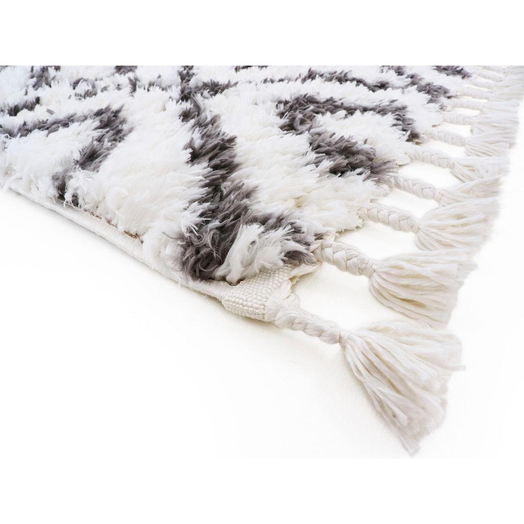 carpetfine Hochflor-Teppich »Enya«, rechteckig, 30 mm Höhe, Mit Fransen