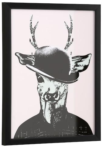 G&C Kunstdruck »Reh in Spaziergang-Kleidung«, gerahmt kaufen