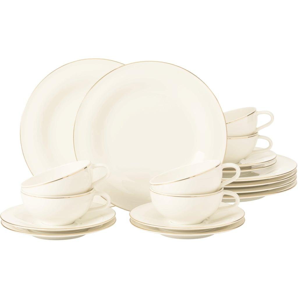 Seltmann Weiden Teeservice »Teeservice Medina Goldlinie«, (Set, 18 tlg., 6 x Teeobertasse groß 0,26 l 6 x Kombi-Untertasse groß 16,5 cm 6 x Frühstücksteller rund 23 cm), mit feinen Goldlinien