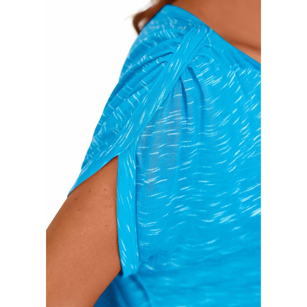 LASCANA T-Shirt, mit Schulterraffung