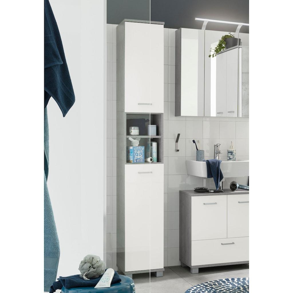 Schildmeyer Hochschrank »Mobes«, Breite/Höhe: 30,3/193,7 cm, Türen beidseitig montierbar, Badschrank mit praktischen Regalfächern und Böden hinter den Türen