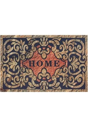 DELAVITA Fußmatte »Home ornament«, rechteckig, 6 mm Höhe, Schmutzmatte, mit Spruch,... kaufen