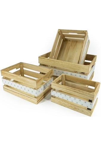NOOR LIVING Aufbewahrungsbox »Aufbewahrungsboxen-Set 4-tlg., natur, mittig schwarz... kaufen
