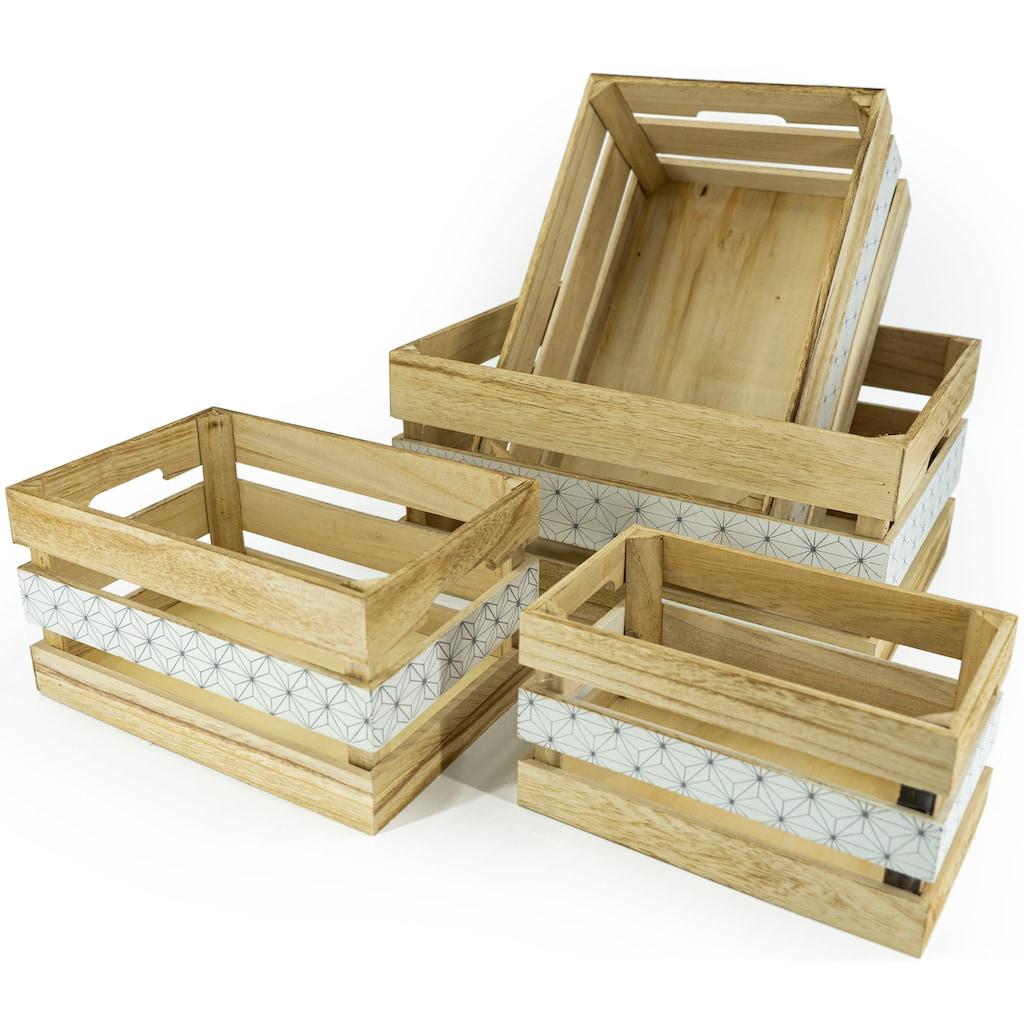 NOOR LIVING Aufbewahrungsbox »Aufbewahrungsboxen-Set 4-tlg., natur, mittig schwarz bedruckt«, (Set, 4 St.)