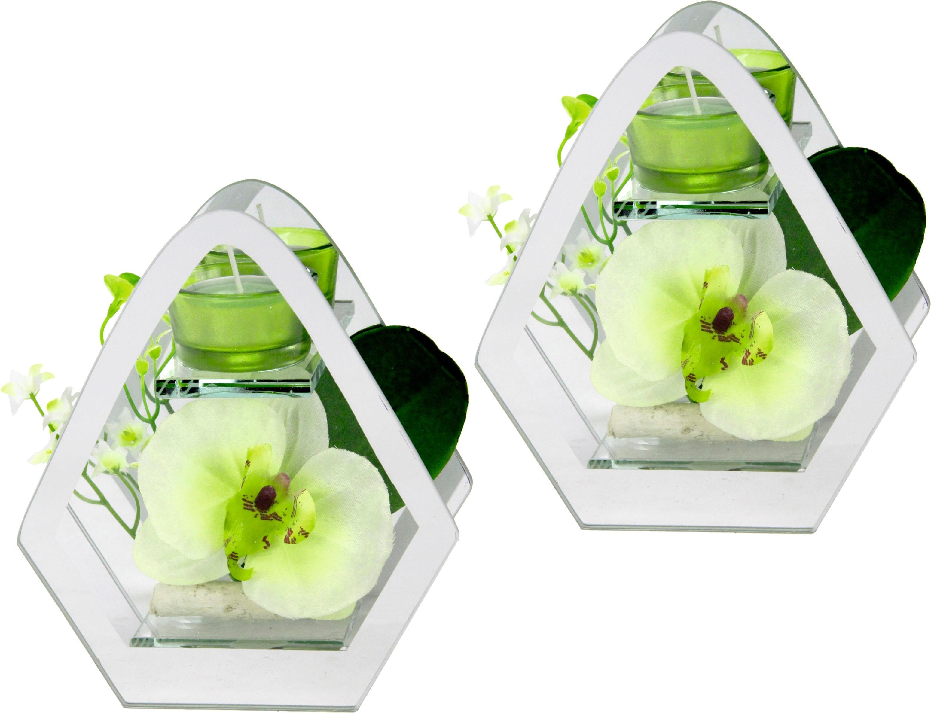 Kunstblume »Orchidee im Glas mit Teelicht« (2erSet)