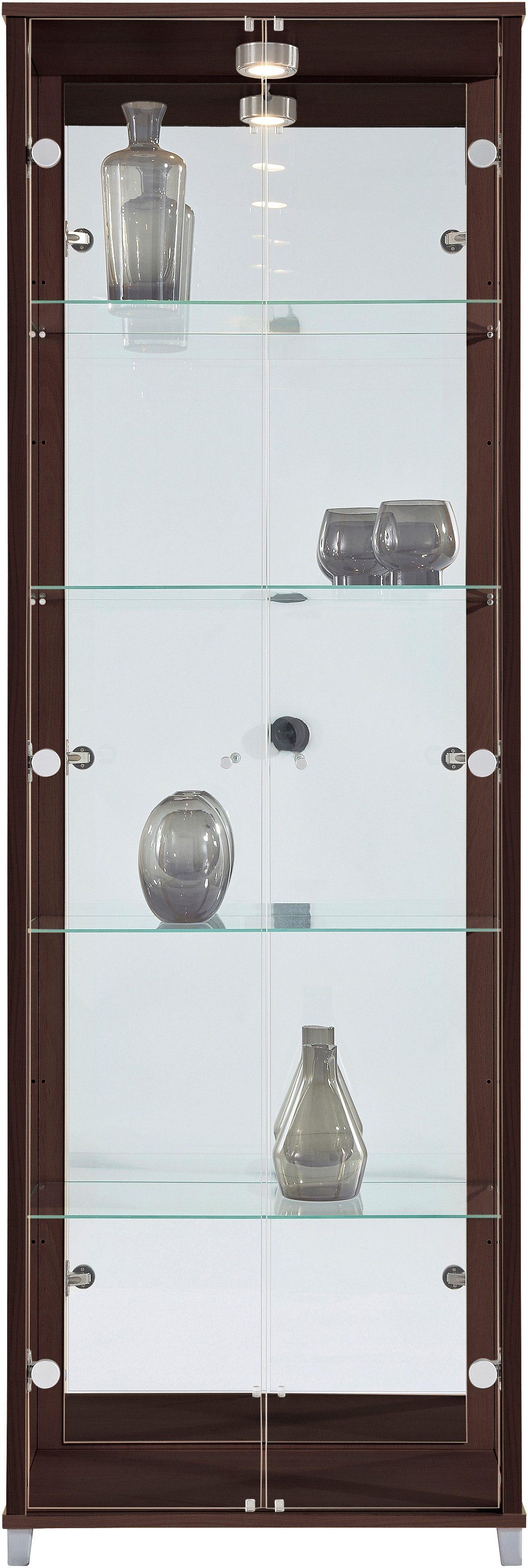Vitrine, 2-türig mit Spiegelrückwand, 4 Glasböden | Wohnzimmer > Vitrinen > Standvitrinen | Braun | Melamin | QUELLE