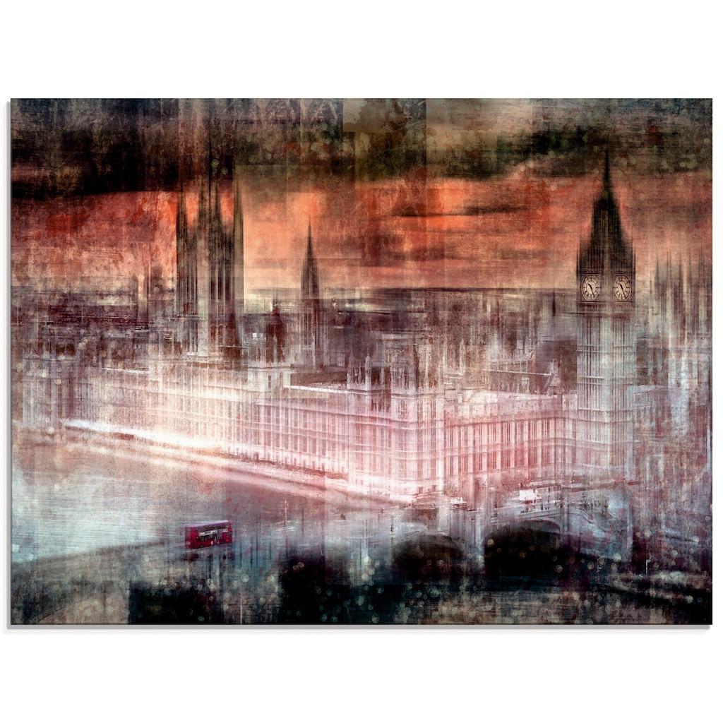Artland Glasbild »Digitale Kunst London Westminster II«, Gebäude, (1 St.)