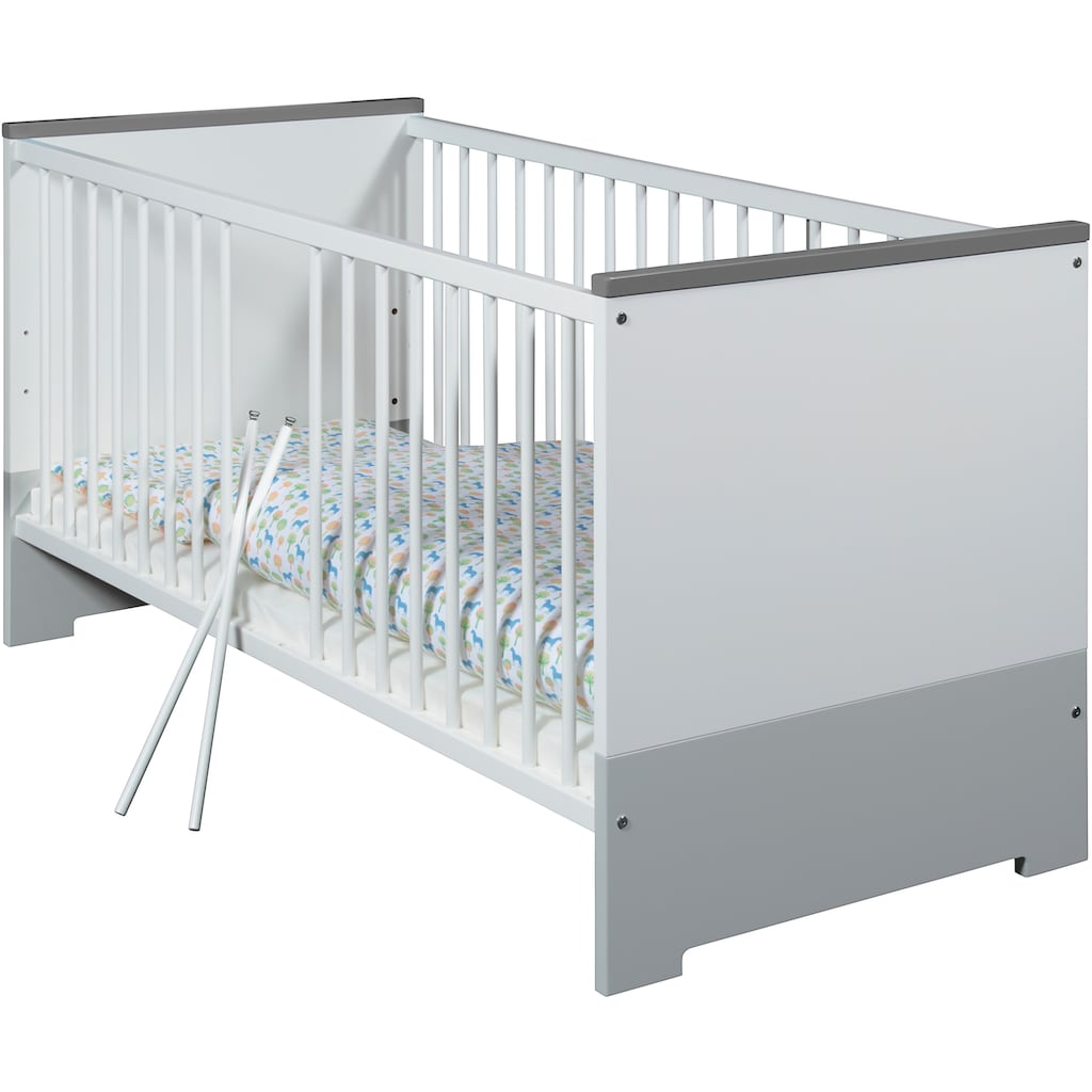 Schardt Babyzimmer-Komplettset »Candy Grey«, (Set, 3 St.), Made in Germany; mit Kinderbett, Schrank und Wickelkommode