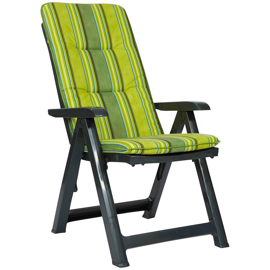 Best Gartenstuhl »Kansas«, Kunststoff, verstellbar, grün, inkl. Auflage