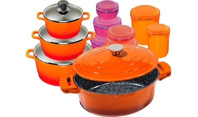 KING Topf-Set »Shine Orange«, Aluminiumguss, (Set, 11 tlg., 3 Töpfe, 3 Deckel, 1 Bräter m. Deckel, 7 Dosen), Induktion kaufen