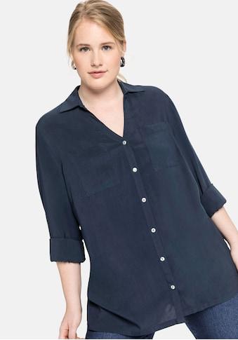 Sheego Hemdbluse, mit V-Ausschnitt und Brusttaschen kaufen