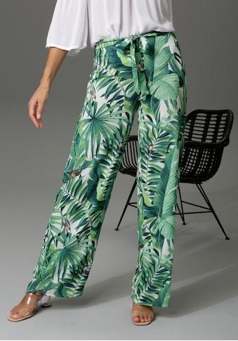 Aniston CASUAL Palazzohose, mit Kolibris und Palmblättern bedruckt kaufen