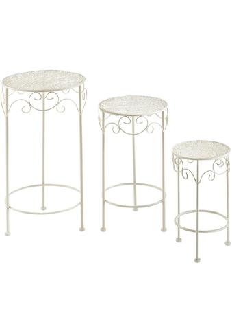 Home affaire Blumenständer, rund aus Metall, cream (3er Set) kaufen