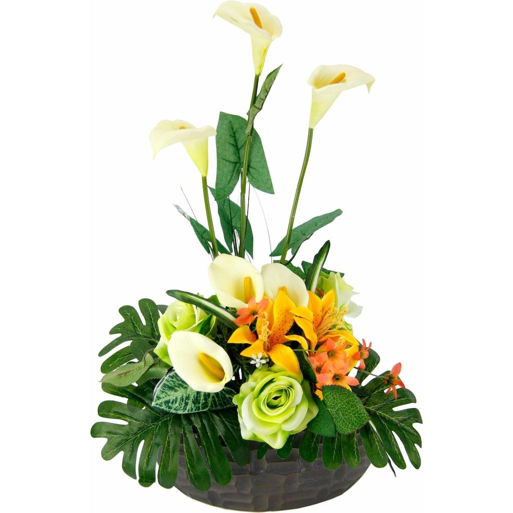 I.GE.A. Kunstpflanze »Arrangement Calla/Blüten 56/33 cm«