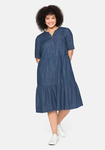 Sheego Jeanskleid, aus leichtem Denim, in Volant-Optik kaufen