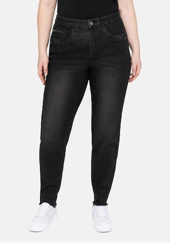 Sheego Stretch-Jeans, mit Fransensaum und Catfaces kaufen