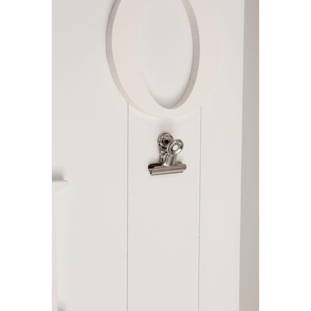 Myflair Möbel & Accessoires Memoboard »Valerina«, Schlüsselbrett, mit Klemmen & Haken, mit Schriftzug