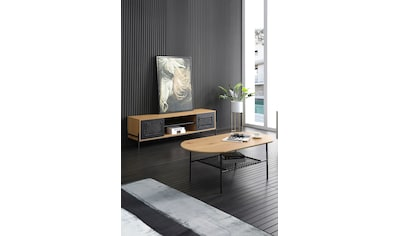 SalesFever Lowboard, Mit mattschwarzem Einsatz aus Polyrattan, Fernsehtisch kaufen
