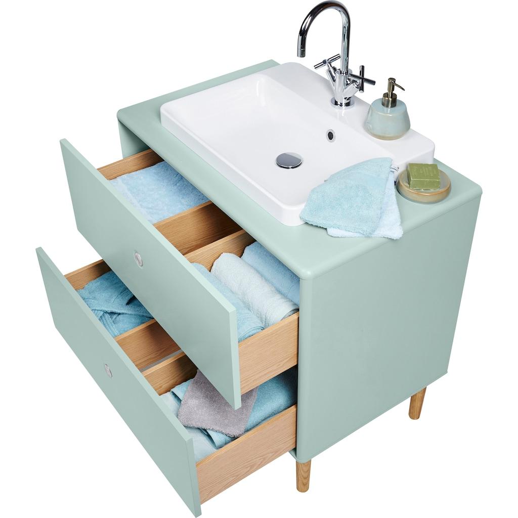 TOM TAILOR Waschtisch »COLOR BATH«, mit integriertem Mineralgussbecken, mit Füßen in Eiche geölt, Breite 80 cm