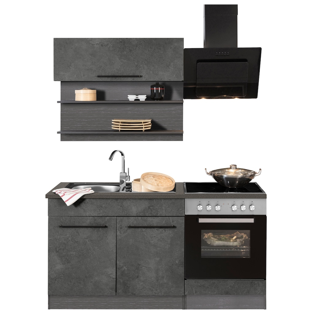 HELD MÖBEL Küchenzeile »Tulsa«, ohne E-Geräte, Breite 160 cm, schwarze Metallgriffe, hochwertige MDF Fronten