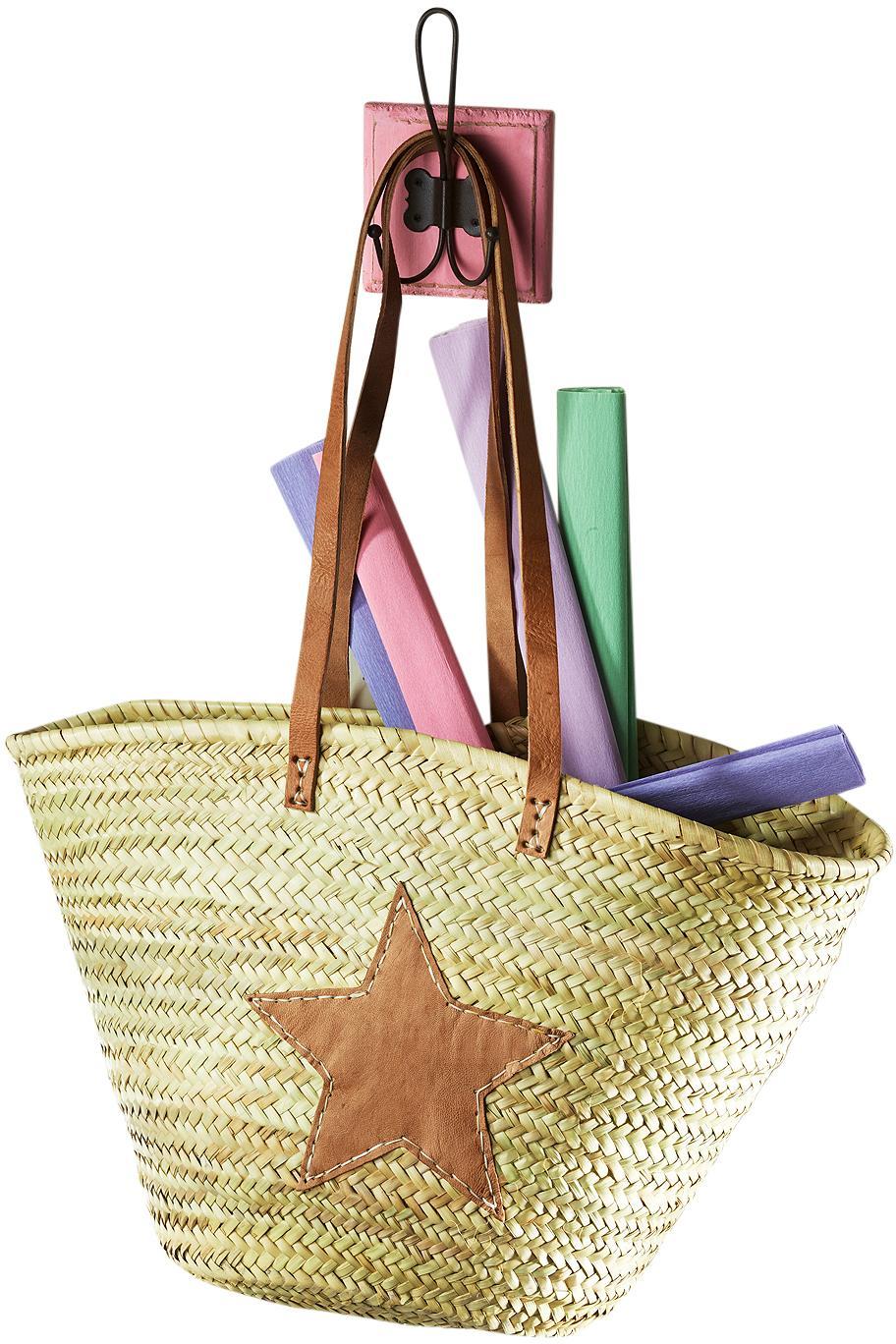 Home affaire Ibizatasche aus Palmblatt mit Echt-Lederhenkeln und Sterndeko aus Leder   Bekleidung > Bademode > Bademäntel   Bunt   HOME AFFAIRE