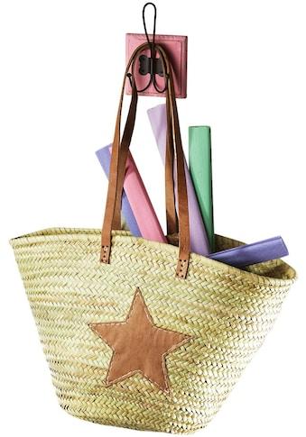locker Aufbewahrungsbox, aus Palmblatt mit Echt-Lederhenkeln und Sterndeko aus Leder kaufen