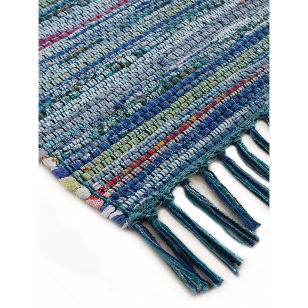 carpetfine Läufer »Kelim Chindi«, rechteckig, 6 mm Höhe, Flachgewebe Wendeteppich mit Fransen, Wohnzimmer