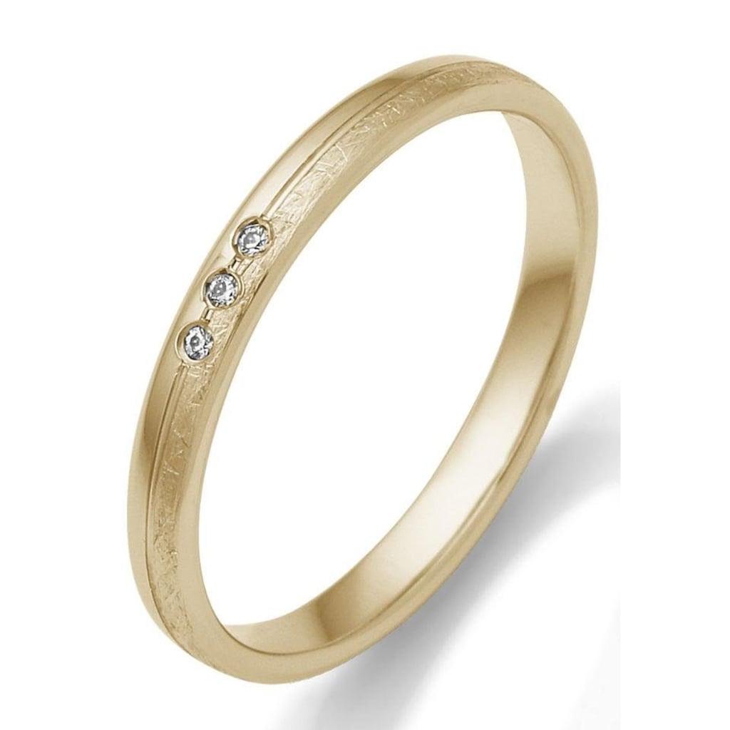 Firetti Trauring mit Gravur »glanz, eismatt, Diamantschnitt, 2,5 mm breit«, Made in Germany, wahlweise mit oder ohne Brillanten