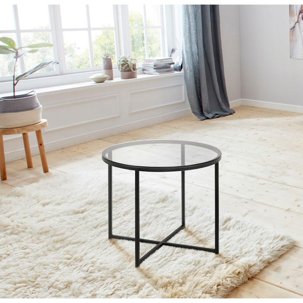 andas Couchtisch »Conrad«, mit einer Tischplatte aus schönem Rauchglas, pulverbeschichtetes Metallgestell, Breite 55 cm