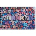 my home Fußmatte »Welcome Steine«, rechteckig, 6 mm Höhe, Schmutzfangmatte, mit Spruch, In- und Outdoor geeignet