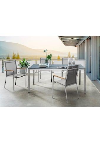 DESTINY Essgruppe »Macao - Sao Paulo«, 5 - tlg., 4 Stühle, Tisch 180x100cm, Alu/Polyrattan kaufen