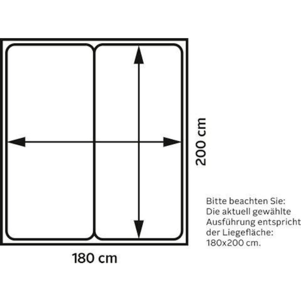 Places of Style Boxspringbett »Cup«, mit LED-Beleuchtung, Massivholzrahmen und Topper, in 2 Härtegraden, in 3 Breiten