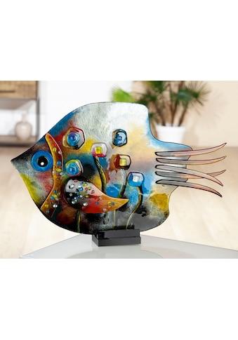 GILDE GLAS art Dekofigur »Skulptur Fisch Fresh Flowers«, Dekoobjekt, Tierfigur, Höhe 39,5 cm, aus durchgefärbten Glas, in Handarbeit gefertigt & handbemalt, Wohnzimmer kaufen