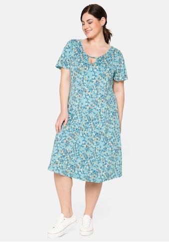 Sheego Jerseykleid, mit Cut-out am Ausschnitt und Alloverdruck kaufen